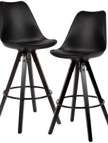 54469-WOHNLING-2er-Set-Barhocker-LIMA-Schwarz-Retro-Design-Kunstleder-Holz-mit-Lehne-schwarze-Beine-Design-Barstuhl-Retro-Skandinavisch-2-Stueck-Tresenhocker-Sitzhoehe-77-cm-WL6-126