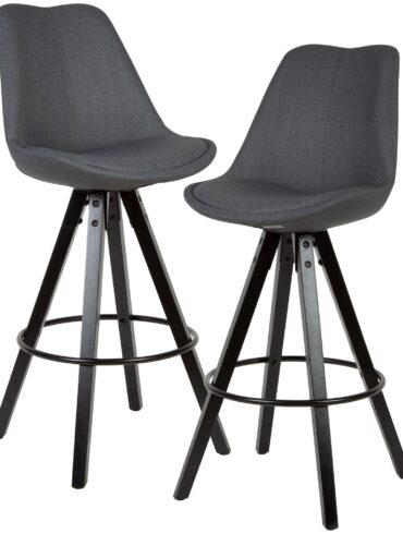 54472-WOHNLING-2er-Set-Barhocker-LIMA-Anthrazit-Retro-Design-Stoff-Holz-schwarze-Beine-mit-Lehne-Design-Barstuhl-Retro-Skandinavisch-2-Stueck-Tresenhocker-Sitzhoehe-77-cm-WL6-128-WL