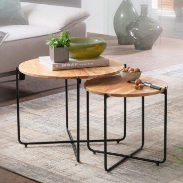 55097-WOHNLING-Couchtisch-Set-Akazie-Massivholz-Metall-Sofatisch-Design-Wohnzimmertisch-Rund-Kaffeetisch-Massiv-Kleiner-Tisch-Wohnzimmer-WL6-131-WL6-131_1