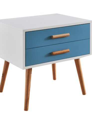 Table de chevet scandinave bleue et blanche