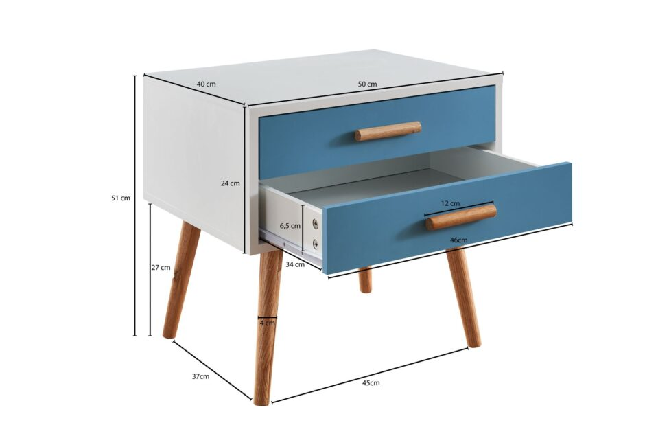 Table de chevet scandinave bleue et blanche